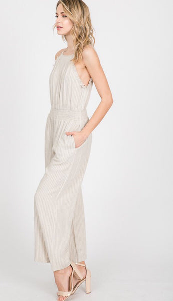 Natural Stripe Jumpsuit