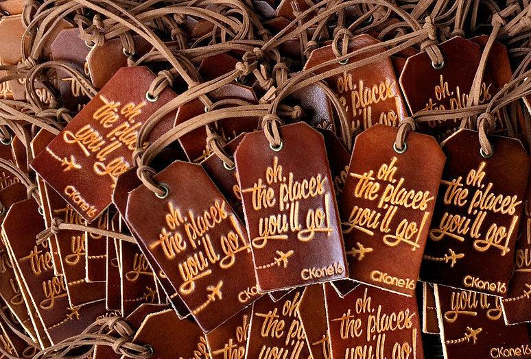 Leather Luggage Tag Wedding Favors - Personalized Design