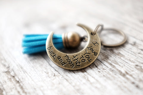 I Love You To The Moon and Back leather tassel keychain