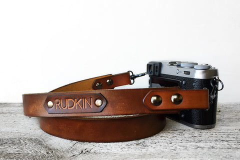 Personalized Sunburst Brown Genuine Leather Camera Strap