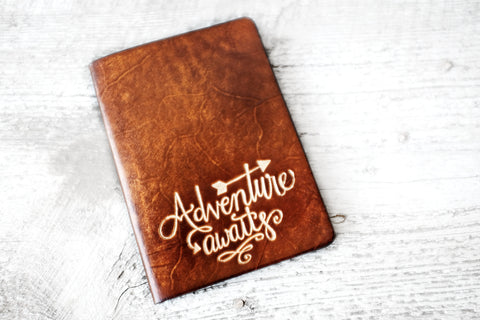 Adventure Awaits Leather Passport Cover