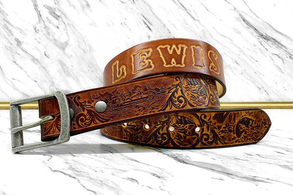 Personalized Leather Belt Bass Fishing Design - Gift for Him - Tooled Name Belt - Genuine Leather Father's Day Gift - Gifts for Fisherman