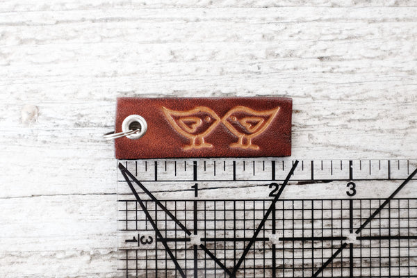Small Leather Keychain - Kissing Birds - Exsect Inc. - 2