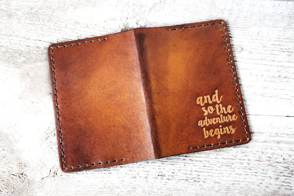 Leather Passport Cover, And So The Adventure Begins