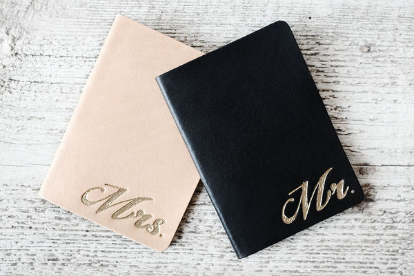 Set of TWO BRIDE and GROOM Passport Covers