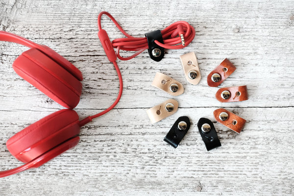 Leather Headphone Cord Organizers