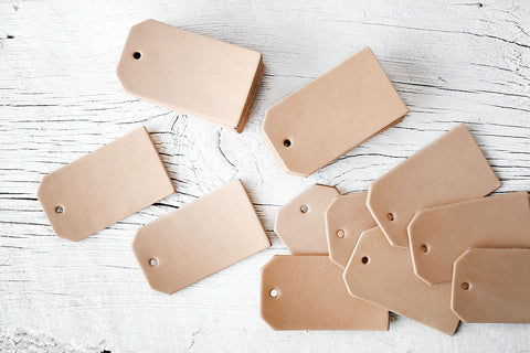 25 Blank Leather Luggage Tag Cut Outs