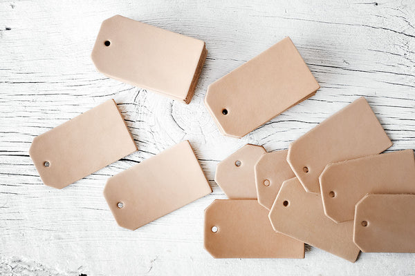5 Blank Leather Luggage Tag Cut Outs