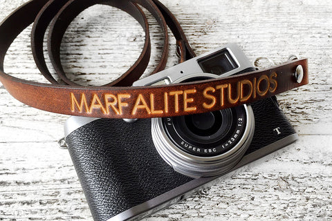 Personalized Leather Camera Strap, Skinny Style