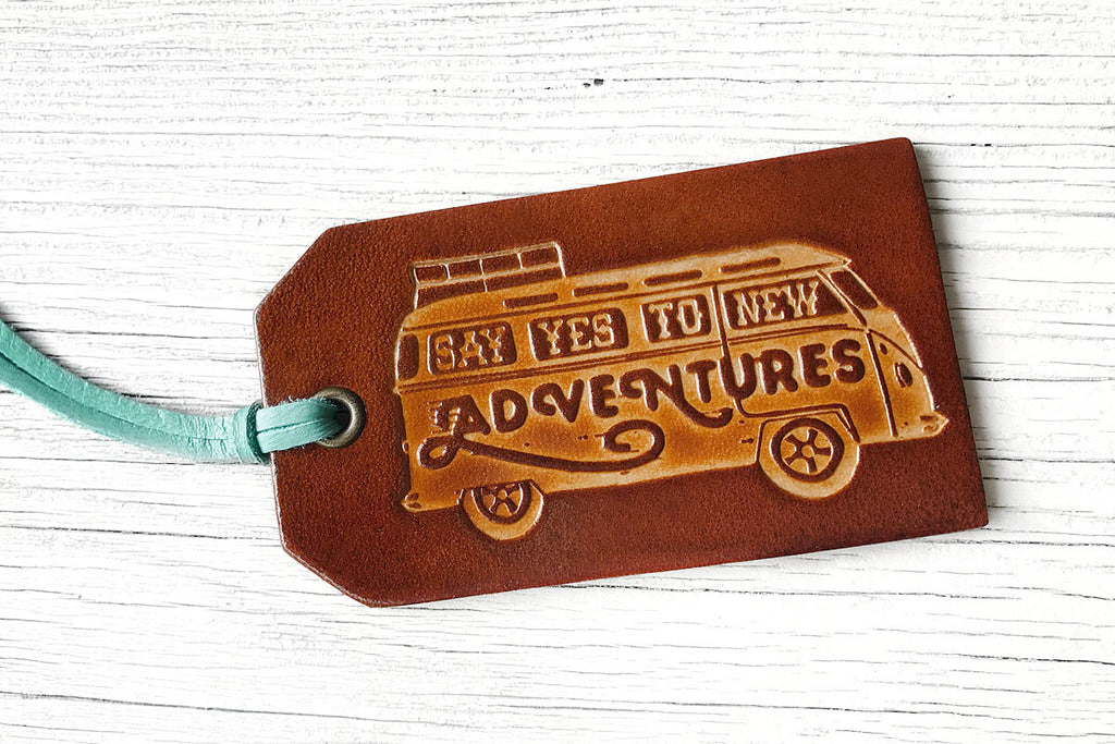 Say Yes To New Adventures Leather Luggage Tag