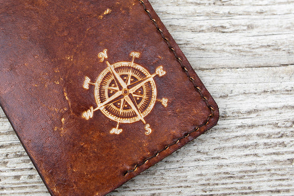 Leather Passport Cover, Compass