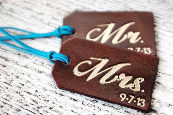 His and Hers Luggage Tags with Custom Wedding Date