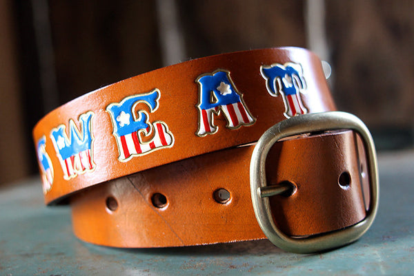 American Flag Personalized Name Leather Belt - Exsect Inc. - 3