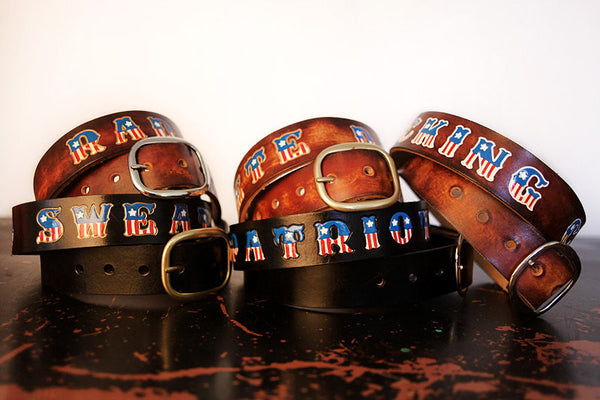American Flag Personalized Name Leather Belt - Exsect Inc. - 2