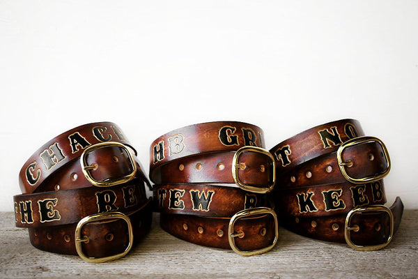 Groomsmens Gift Set Custom Leather Belts - Exsect Inc. Leather Gifts and Wanderlust Essentials - 2
