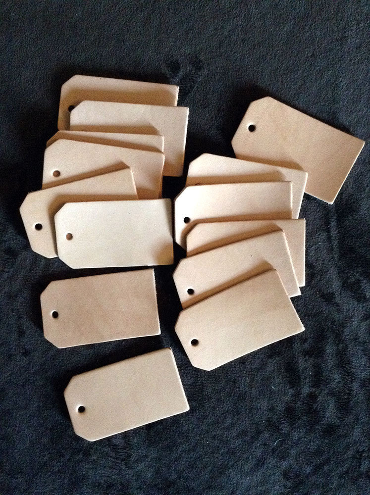 100 BLANK Leather Luggage Tag Cut Outs - Exsect Inc. - 1
