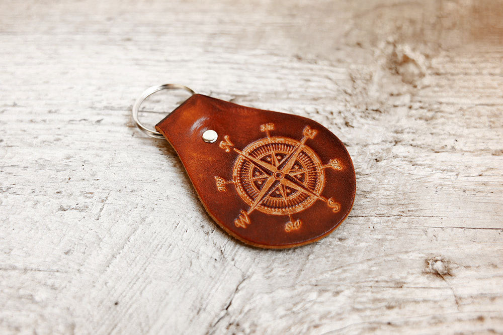 Compass Genuine Leather Keychain - Exsect Inc. - 1
