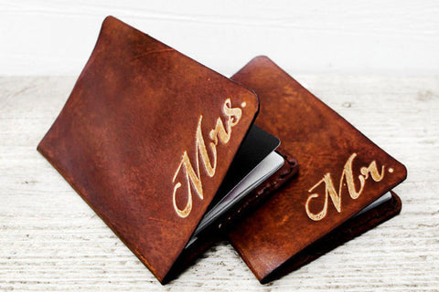 Leather Mr and Mrs Passport Cases Gift Set - Exsect Inc. - 1