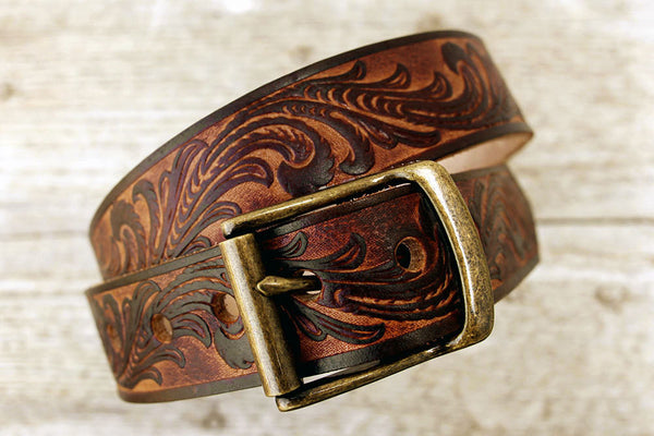 Vintage Inspired Tooled Leather Belt - Exsect Inc. - 2