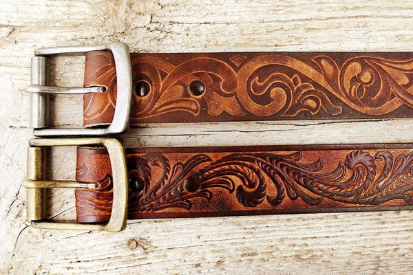 Vintage Inspired Tooled Leather Belt - Exsect Inc. - 4
