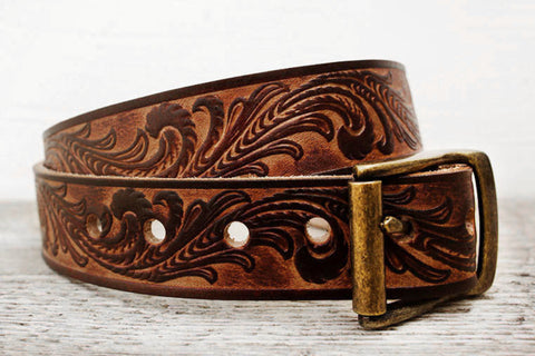 Vintage Inspired Tooled Leather Belt - Exsect Inc. - 1