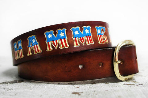 American Flag Personalized Name Leather Belt - Exsect Inc. - 1