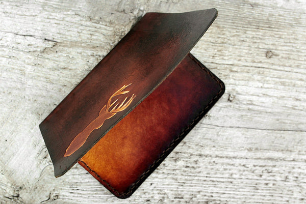 Men's Leather Passport Cover - Deer Antlers - Exsect Inc. - 3