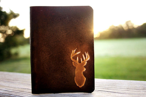 Men's Leather Passport Cover - Deer Antlers - Exsect Inc. - 1
