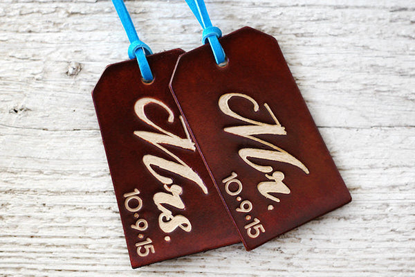 His and Hers Luggage Tags with Custom Wedding Date - Exsect Inc. - 1