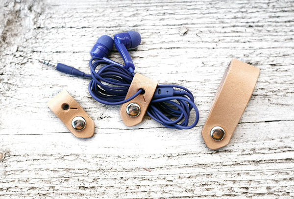 SET OF THREE - Leather Travel Cord Organizer - Exsect Inc. - 2