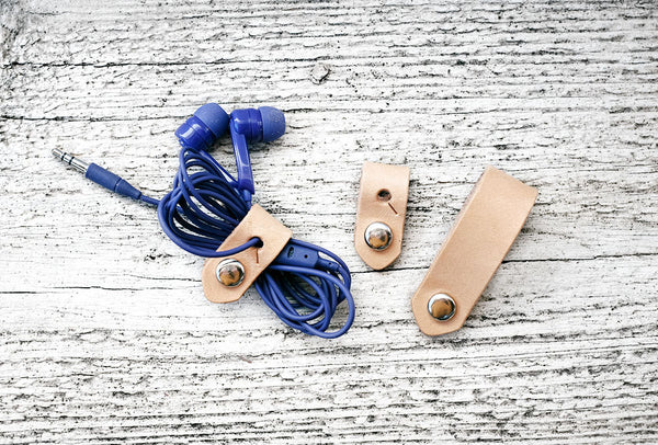 SET OF THREE - Leather Travel Cord Organizer - Exsect Inc. - 1