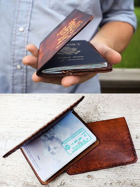 Men's Leather Passport Cover - Deer Antlers - Exsect Inc. - 5