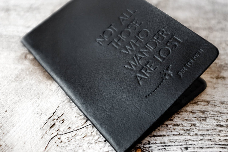Black Not All Those Who Wander Passport Cover - Exsect Inc. - 1