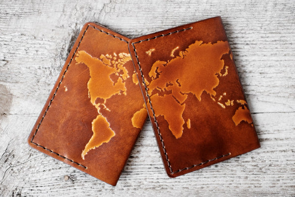 WORLD MAP Passport Cover - Genuine Leather - Exsect Inc. - 4