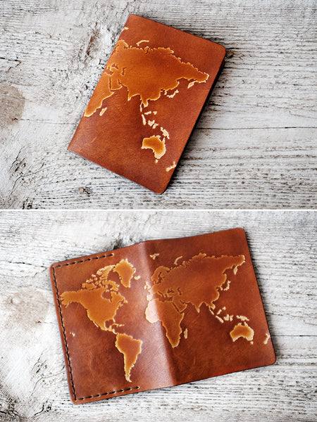WORLD MAP Passport Cover - Genuine Leather - Exsect Inc. - 2