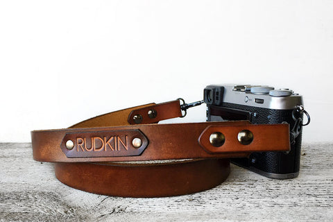 Brown Personalized Camera Strap, Exsect Leather