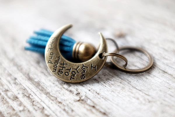 I Love You To The Moon And Back Tassel Keychain - Exsect Inc. Leather Gifts and Wanderlust Essentials - 1