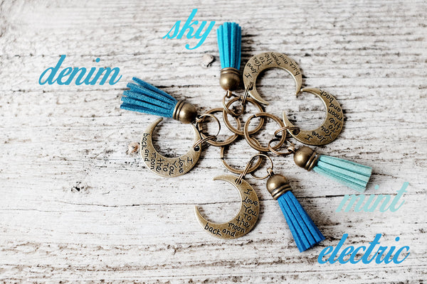 I Love You To The Moon And Back Tassel Keychain - Exsect Inc. Leather Gifts and Wanderlust Essentials - 4