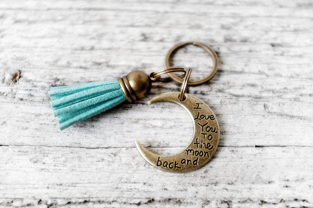 Tassel Keychain with I Love You to the Moon and Back Charm - Exsect Inc. - 1