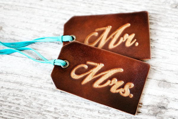 Leather Luggage Tags Gift Set