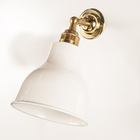 Alvin White & Brass Wall Light