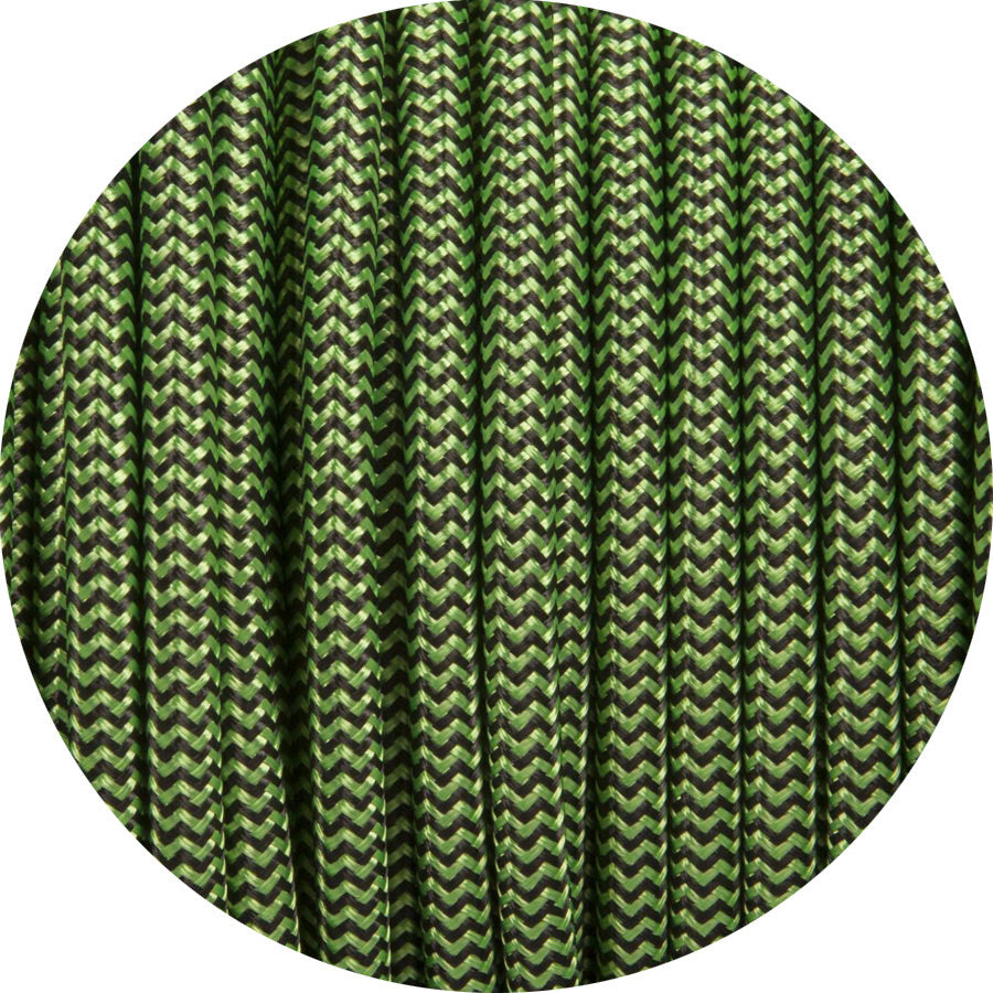 Apple Green & Black Round Fabric Cable
