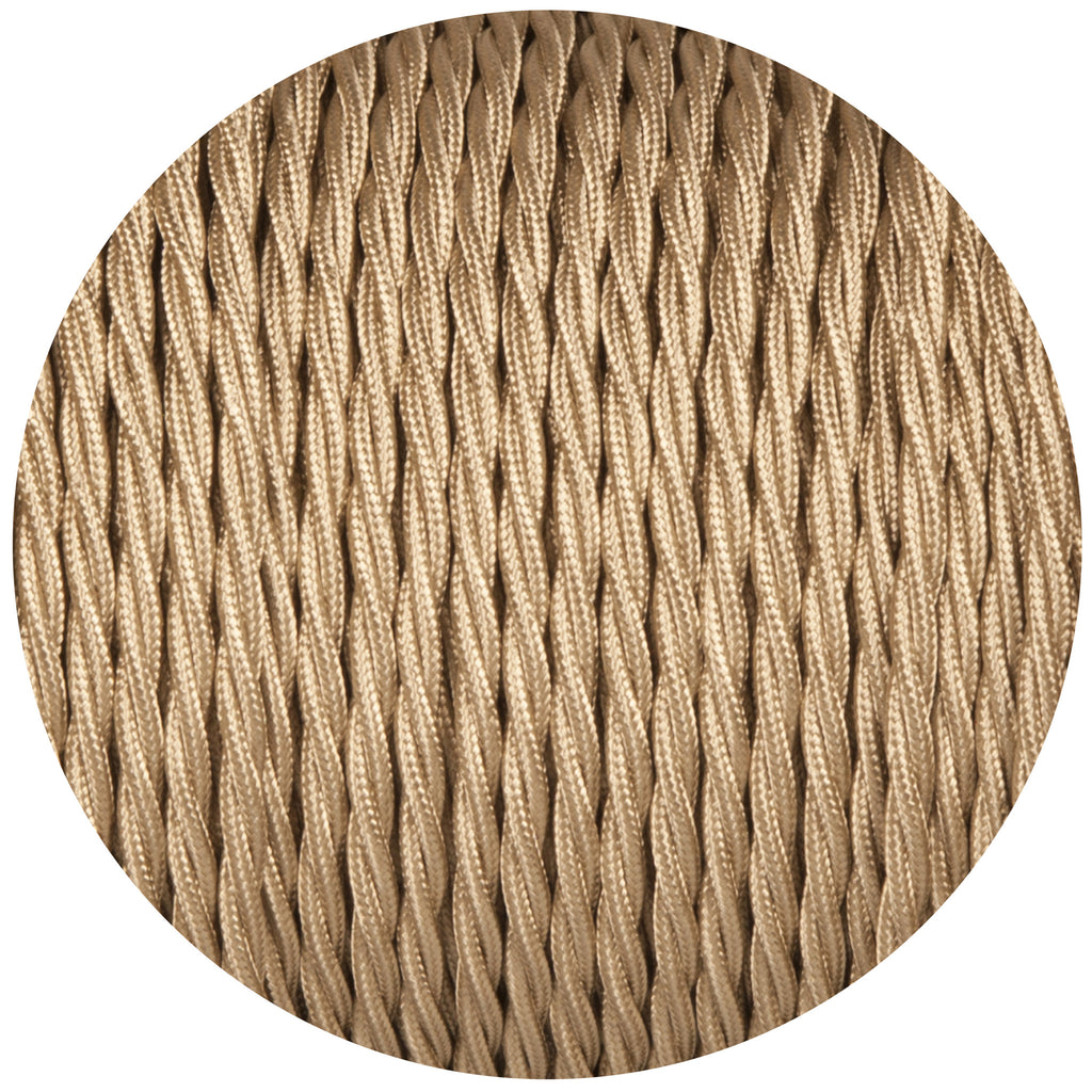 Beige Twisted Fabric Braided Cable