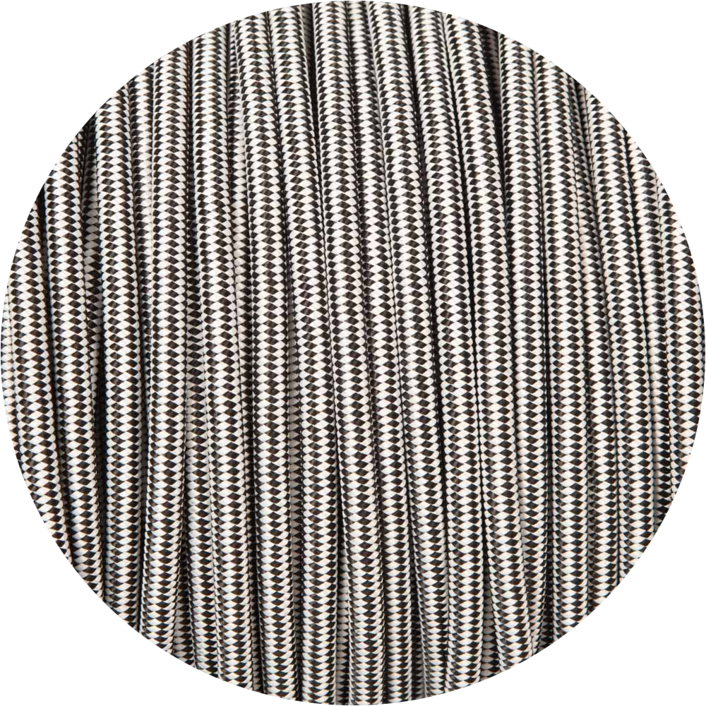 Black & White Diamond Round Fabric Braided Cable