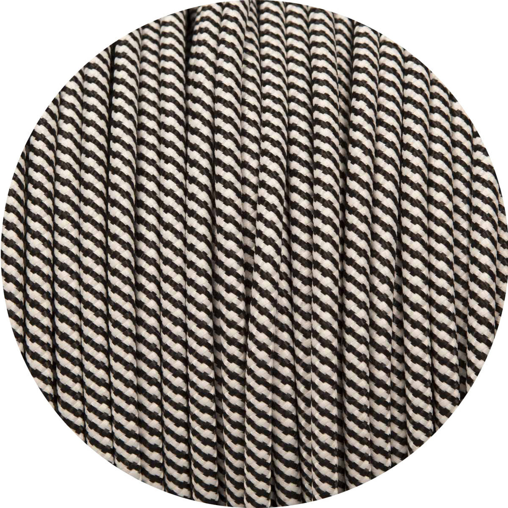 Black & White Spiral Round Fabric Cable
