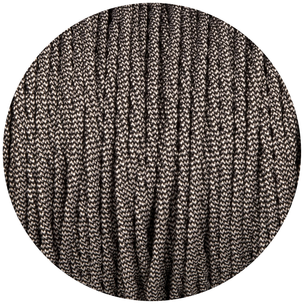 Black & White Twisted Fabric Braided Cable