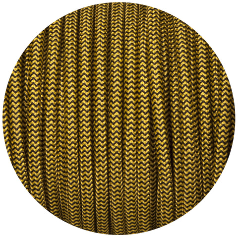 Black & Yellow Round Fabric Braided Cable