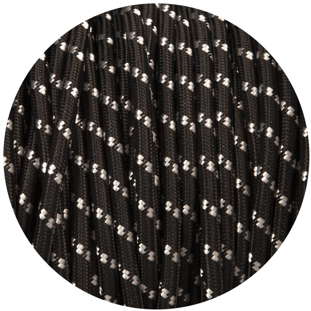 Black With White Fleck Round Fabric Cable