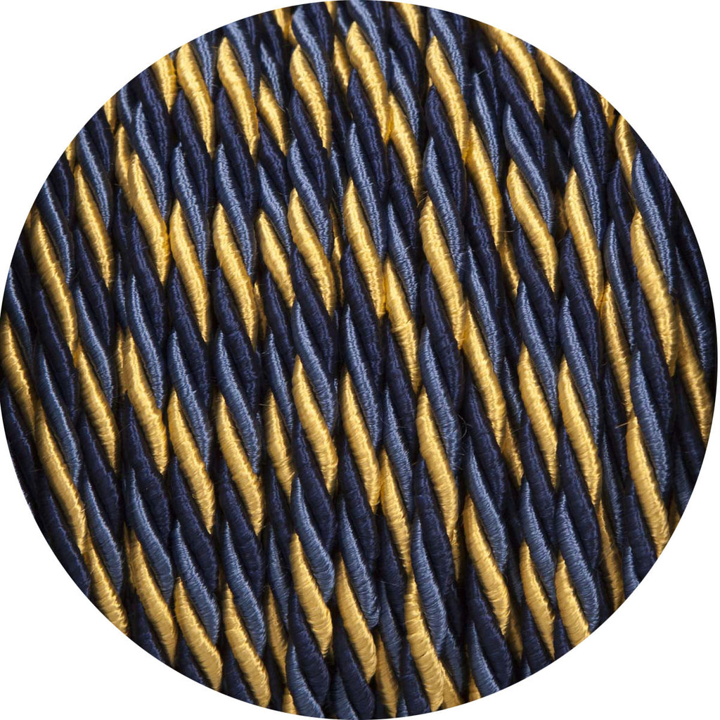 Deep Blue & Gold Twisted Fabric Cable
