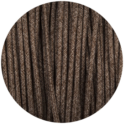Brown Canvas Round Fabric Braided Cable